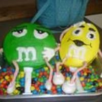Dee's M&m's 7'07 M&M cake. Made from Small round pan and small oval pan. Iced and airbrushed,faces piped on. Arms and legs made from MMF and connected...