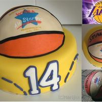 Basketball Cake For a girl who loves basketball, and especially the Lakers. Her mother sent me a few pictures of the girl's ball and the Lakers, and I...