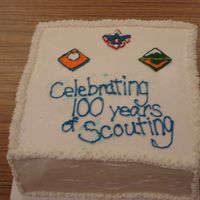 Cub Scout Cake #1 This was a cake for our Cub Scout pack meeting. I used color flow to do the scouting images.