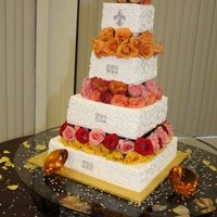 Wedding Cake.   tres leches cake, whit fresh strawberries filled, decorated whit fresh flowers and sugar diamons!