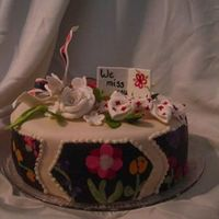 Floral Inlay Cake Shameless Colette Peters copying. :) Her floral inlay cake was just too gorgeous... this is nowhere near as nice as her version, but I&#039...
