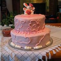Pink Bunny Grad Cake This was my FIRST paid cake... for a friend's graduation. Had a time with the MMF, my mistake for refridgerating it!