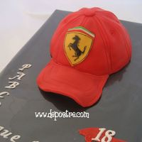 Ferrari Baseball Cap All of it is made out of fondant, and the logo was hand-painted.
