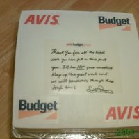 Avis-Budget Cake Swirl cake with strawberry filling, and edible images