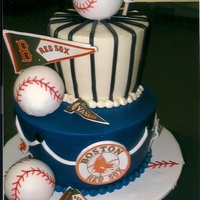 Yankees Vs Red Sox   Cake made for a baseball fan. Can you guess who his two favorite teams are? Cakes iced in BC with fondant accents and edible images