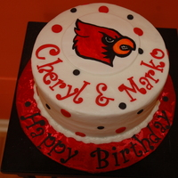 Cardinal Bird (U Of L) Birthday Cake Two birthdays - one love University of Louisville Cards!!!!! Cardinal is hand painted on fondant - I have done this so many times, I can do...