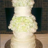 Ivory And White All buttercream tinted in a light ivory with white scroll work. The floral was real-white hydrangias and white roses