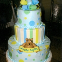 Bears & Polka Dots Cake iced in bc with fondant accents