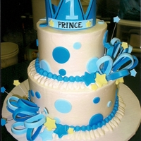 Prince For The Day Cake iced in bc with fondant accents. Idea taken from a party invitation