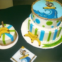 Surfin' Monkey Goes Nanners   Design taken from the napkin shown in the pic. Cake iced in bc with fondant accents