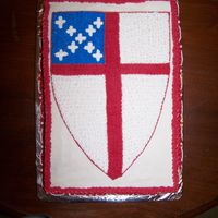 Episcopal Shield I did this cake for the dedication of our church's Parish Life Center.