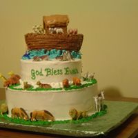 Noah's Ark Christening Cake, Noah's Ark theme.Ark made out of rice crispy, plastic toy animals