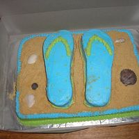 Flip Flops This isn't as good as some of the flip flop cakes on here, but the recipient loved it! Its a chocolate cake, covered in buttercream...
