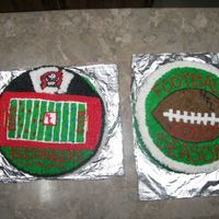 Football Season Cakes pound cake with bc frosting. just another practice cake@