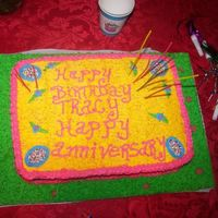 Tracy`s B-Day Cake Last minute cake order for a friends b-day and anniversary. It`s a pound cake with bc icing.I made it colorful because they have 7 kids.She...