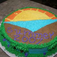 Sunset At The Beach FULL VIEW OF MY OTHER PRACTICE CAKE. POUND CAKE WITH ALMOND FLAVOR.