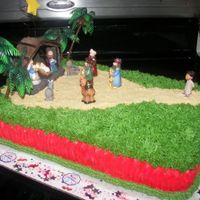 Emanuel`s Nativity Scene B-Day I made this cake for my BIL B-Dday on Christmas Day. It`s a pound cake with bc icing.He wanted a Nativity Scene Theme,as I haven`t made any...