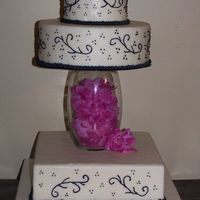 Black And White Wedding Cake Round And Square This is another cake that is fake to have on hand. Wanted to do something different.