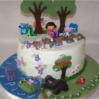 Dora In The Forest Cake Dora cake and fondant animals.