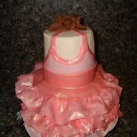 "Ballerina I made this cake for a friends birthday - an 4"" and 6"" stacked. I covered it with MMF fondant and made the tutu out of a MMF..."