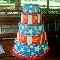 4Th Of July I made this cake for a friends 4th of July picnic. I had a LOT of trouble in the beginning, and my MMF had begun to melt in the humidity as...