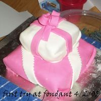 Birthday Gift I made this for a 10 yr old girl who loves pink, and this is my first ever try with fondant. it might not be perfect, but its not all that...