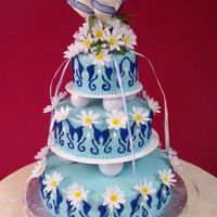 Daisy Wedding Cake This was my first paid wedding cake. The groom who was an artist designed the cake and the colors. The cake came out beautiful until the...