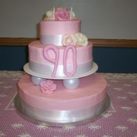 Lee's 90Th Birthday Cake A surprise cake for a 90th birthday for a precious lady at my church- when asked to make the cake the only requirement was to make it pink...