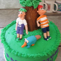 Phineas & Feb whew this cake gave me some trouble. My figures ended up being much bigger than I planned but my nephew loved it so that is all that...
