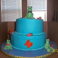 Frog Birthday This was for my nephews 6th birthday. All fondant iced in buttercream