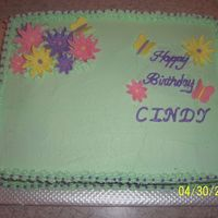 Cindy_Bday_2009_1.jpg Chocolate cake w/ strawberry & choc. ganache filling. Buttercream icing. Fondant flowers