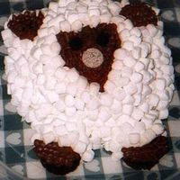Sheep Cake I made this sheep cake for dd's 4th birthday. Chocolate cake covered in bc and marshmallows.