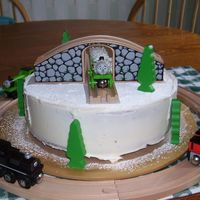 Thomas The Tank Cake I made this cake for my train crazy 3 yr old son.
