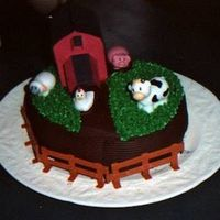 Farm Cake A cake I made for dd's birthday. The barn is the top of a milk carton covered in construction paper.