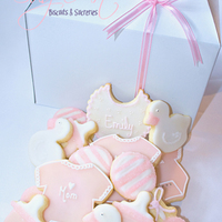 Baby Girl Shower Sugar cookies with toba's glace and details with RI.