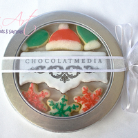 Cookies Corporative christmas cookie box.Hand cut logo.Sugar cookies with glace and RI details + sanding sugar.