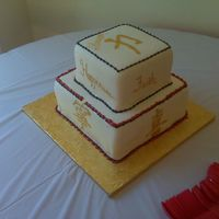Asian Housewarming This was for a client having an Asian themed housewarming. My first time painting symbols on a cake. TFL
