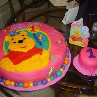 Winnie Da Pooh Buttercream cake filled with bavarian creme and covered with fondant.