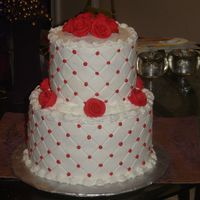 Chante's Cake Bridal Shower Cake done in buttercream w/ diamond impression mat