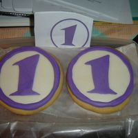 Bailey's 1St Birthday First time attempting to decorate cookies. Design from baby's birthday invitation and done in mm fondant. It wasn't has bad as I...