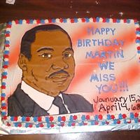 Martin Luther King This is a cake I made for my son's class, they were learning about Martin Luther King and was going to have a birthday party for him (...