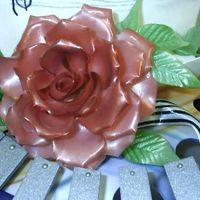 "Pulled Sugar Rose This is a close-up of the pulled sugar rose that is on my chocoalte and sugar showpiece. It is about 6"" in diameter."