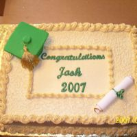 Graduation Cake The cap and diploma are done in fondant, this is my first time working with it. The rest is done in all buttercream.