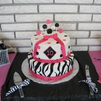 Zebra And Polka Dots This is a cake done for a friends little girl. The cake is iced in buttercream and fondant decorations.