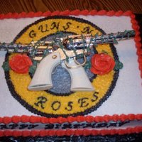 Guns N Roses Had a request for a Guns N Roses cake and this is what I came up with. Everything is buttercream except for toy guns.