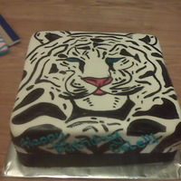 "White Tiger  I ""borrowed"" this idea from sweetcakesbyrebecca. My BIL wanted a white tiger cake. Saw sweetcakesbyrebecca's photo and had..."