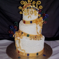 Bejeweled 50 Th Gold Topsy Turvy This is the second topsy turvy cake I have made. I am really happy how it turned out,however i think I need more work on the angles of the...