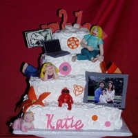 21 Birthday Girl My niece asked me if i could put all the things she loved on one cake and to also put things on her cake that i had put on cakes she had...
