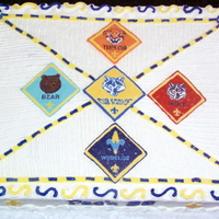 Blue And Gold Banquet Cub Scout Cake full sheet cake with chocolate transfers