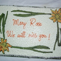 Farewell Cake decorations are chocolate transfers
